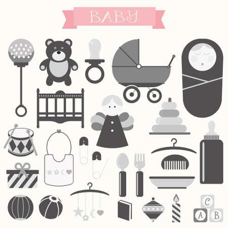 Vektor-Illustration von Babys und Baby-Produkte