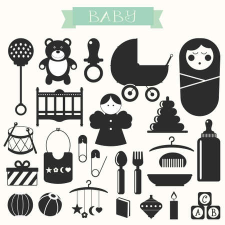 s m: Vector illustration of babies and baby products