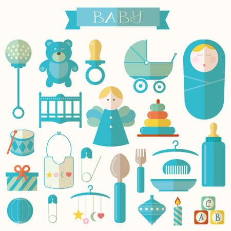 good s: Vector illustration of babies and baby products