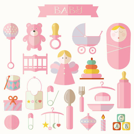 stuff toys: Vector illustration of babies and baby products