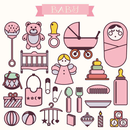 stuff toys: Vector illustration of babies in September