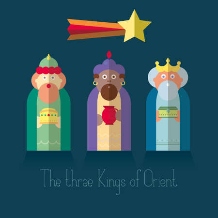 christmas nativity: The three Kings of Orient wisemen