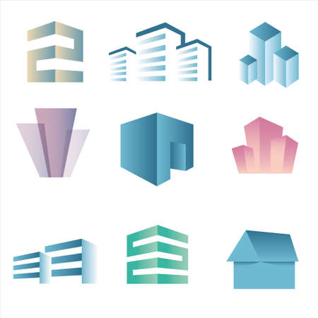 real state: Building real state icons vector set