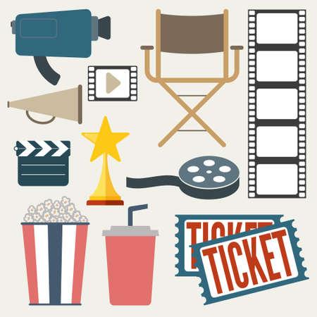 movie icons set Illustration