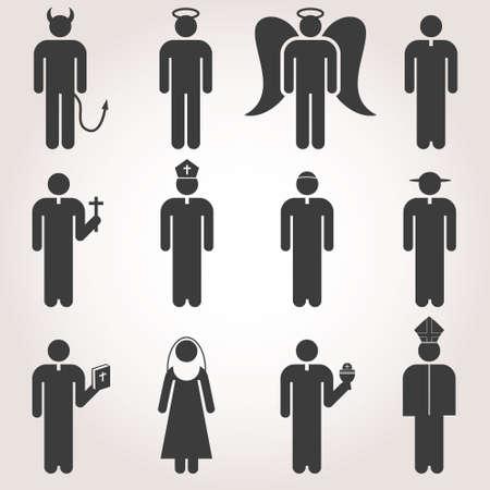 Tradizione Cultura Religione Chiesa cristiana Pastore Preghiera Prete Nun Stick Figure pittogramma Icon