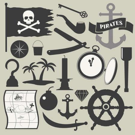 sombrero pirata: piratas iconos conjunto