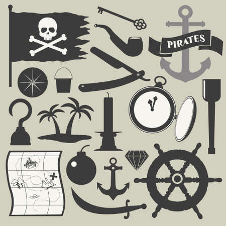 pirate flag: pirates icons set