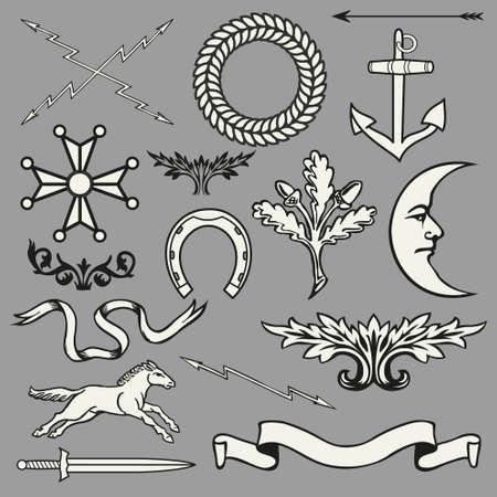 heraldic symbols: Heraldic symbols and elements Illustration