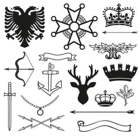 crusader: Heraldic symbols and elements Illustration