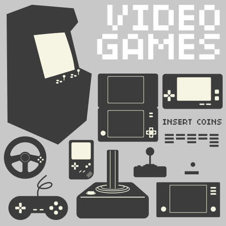 home video: Video Games Icon Set Illustration