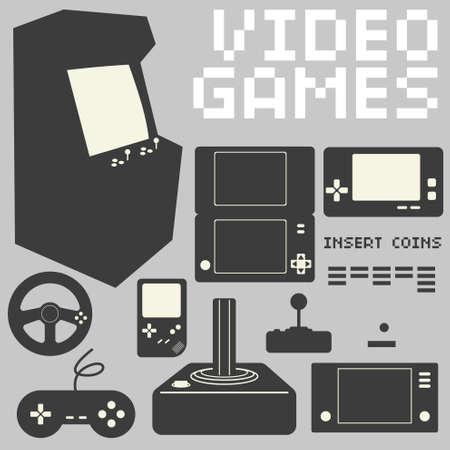 video games: Video Games Icon Set Illustration