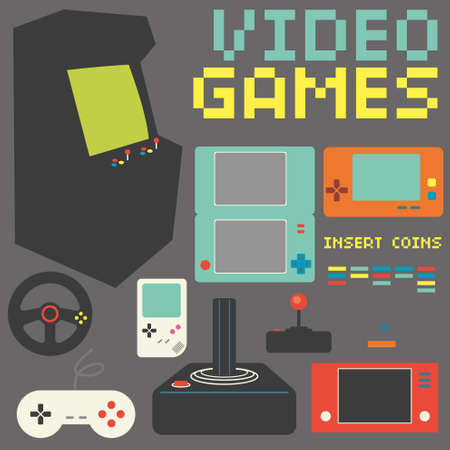 Video Games Icon Set Vectores
