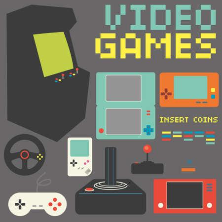 Video Games Icon Set Illustration
