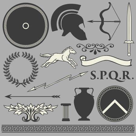 military background: Old greek roman spartan set icons