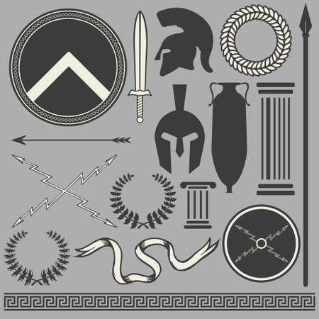 Old greco romano spartano set di icone
