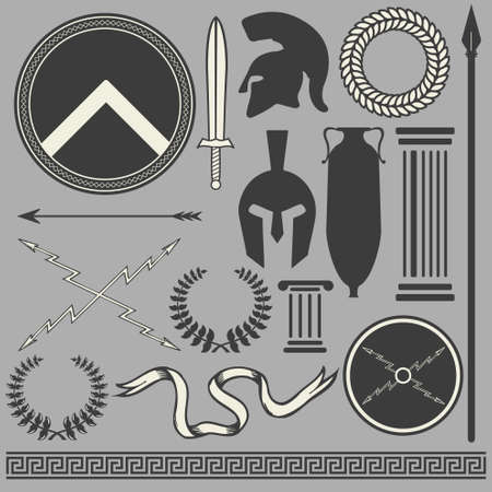 military helmet: Old greek roman spartan set icons