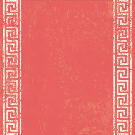 gold textured background: antique wall with greek ornament meander.vector background