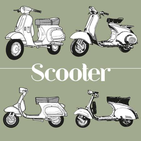 Symbol lambretta vespa scooter mod Vectores