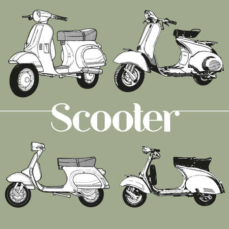 motor scooter: Symbol lambretta vespa scooter mod Illustration