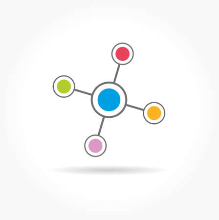 Color communication network technology icon Vector