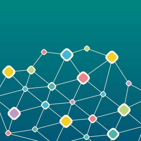 cell damage: Color Network technology background Illustration