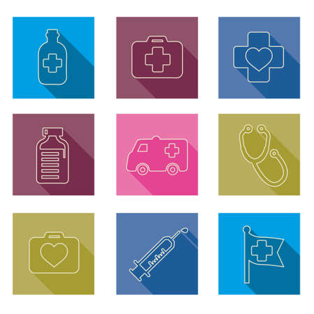 dai: line set of medical icons Vector illustration