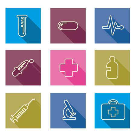 antibiotics: line set of medical icons Vector illustration