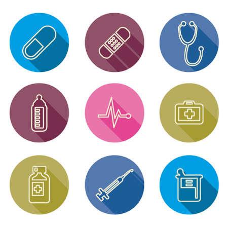 medics: line set of medical icons Vector illustration