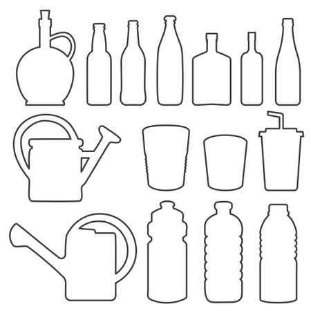 Bottle collection line silhouette vector Vector