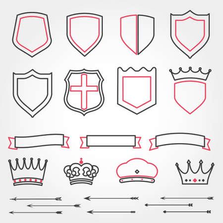 achievment: September heraldic shields ribbons crowns vector arrows line