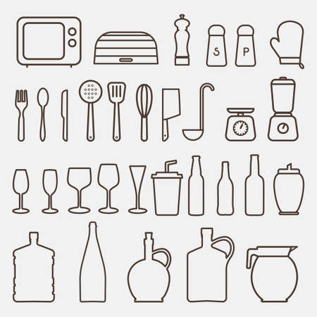 chef s hat: Outline Kitchen Icon Set - Vector Graphics Illustration
