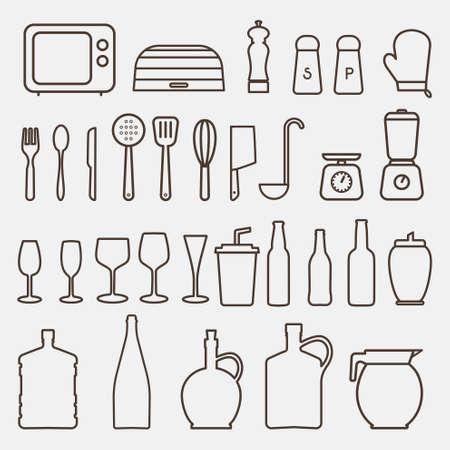 warmly: Outline Kitchen Icon Set - Vector Graphics Illustration