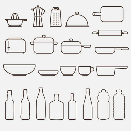 chefs whites: Outline Kitchen Icon Set - Vector Graphics Illustration
