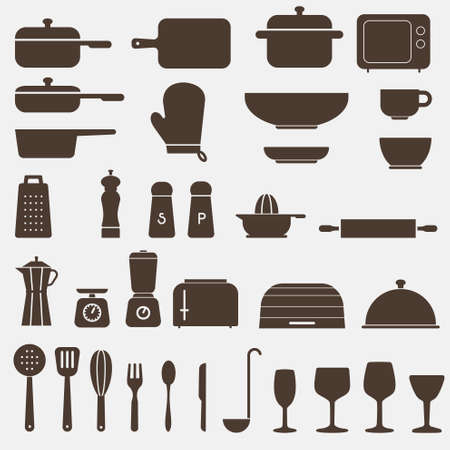 measuring spoons: Kitchen Icon Set - Vector Graphics