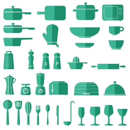 chef s hat: Kitchen Icon Set Vector Graphics