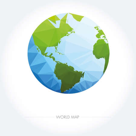 blue icon: Earth World Map. Low poly vector illustration