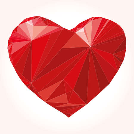 Heart origami. Vector Illustration. Abstract polygonal heart. Love symbol. Low-poly colorful style. Romantic background for Valentines day. Ilustracja