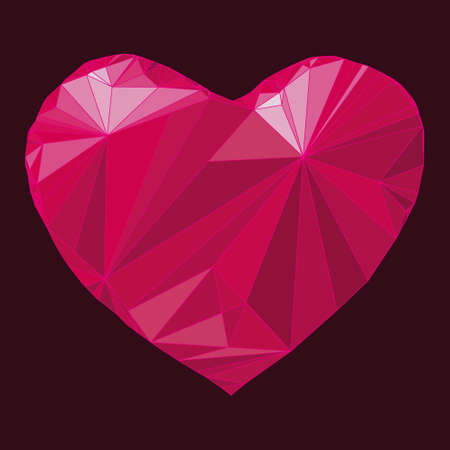 moire: Heart origami. Vector Illustration. Abstract polygonal heart. Love symbol. Low-poly colorful style. Romantic background for Valentines day. Illustration