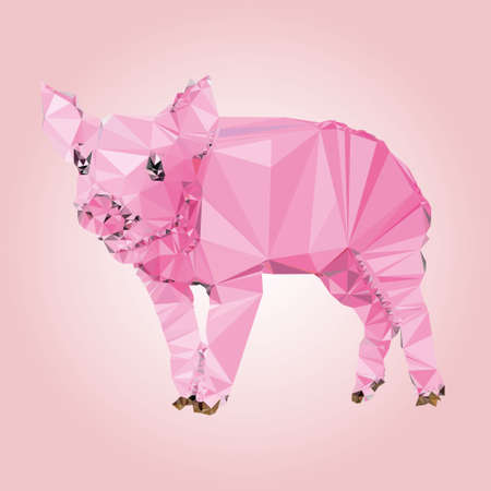 food industry: Isolated Pig made triangles Vector