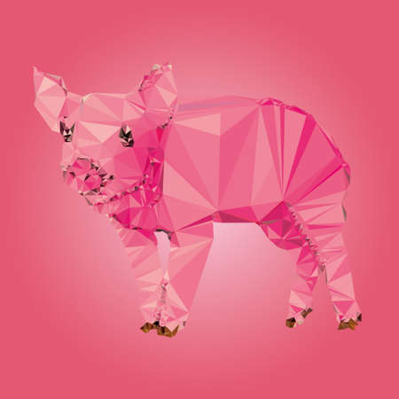Isolated Pig made triangles Vector