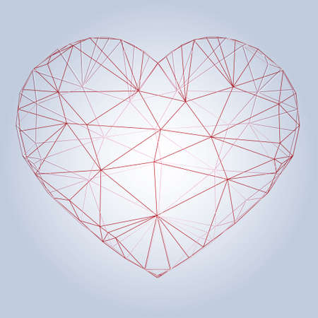 ard: Heart origami. Vector Illustration. Abstract polygonal heart. Love symbol. Low-poly colorful style. Romantic background for Valentines day. Illustration