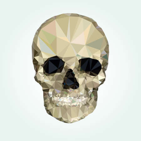 using mouth: Low poly crystal skull vector
