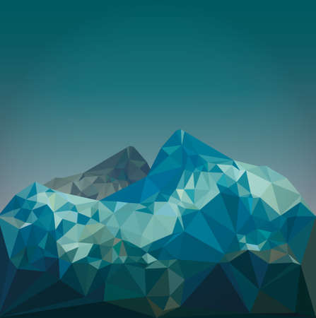 mountains and sky: low poly mountain landscape