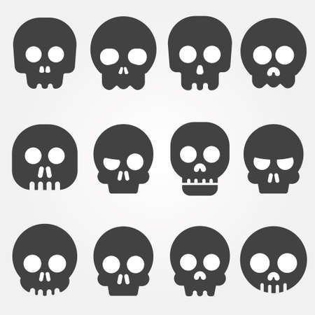 Cartoon skull vector icon set Vector