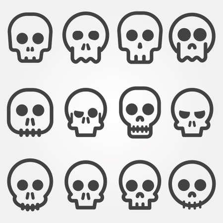 tete de mort: Cr�ne de bande dessin�e vecteur, ic�ne, ensemble
