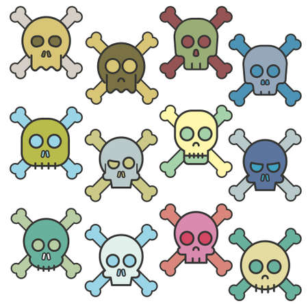 death s head: Cartoon skull with bones vector icon set Illustration