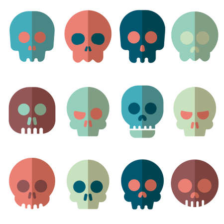 death s head: Cartoon skull vector icon set