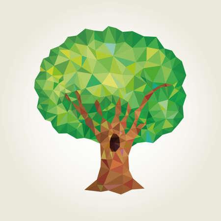 summer's: Conceptual polygonal tree. Illustration
