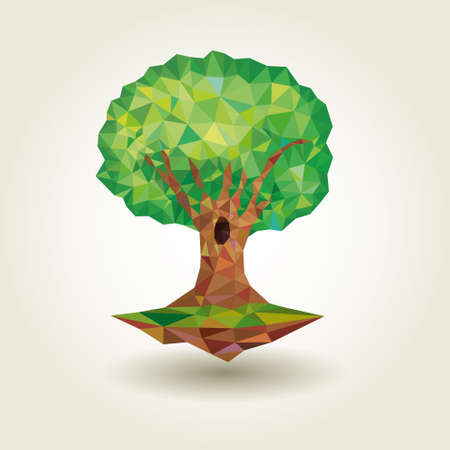 appoints: Conceptual polygonal tree. Abstract Vector Illustration low poly style Stock Photo