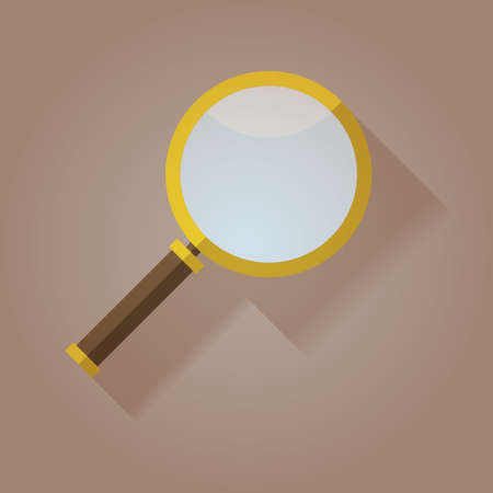 Magnifying Glass icon flat with long shadow Vector